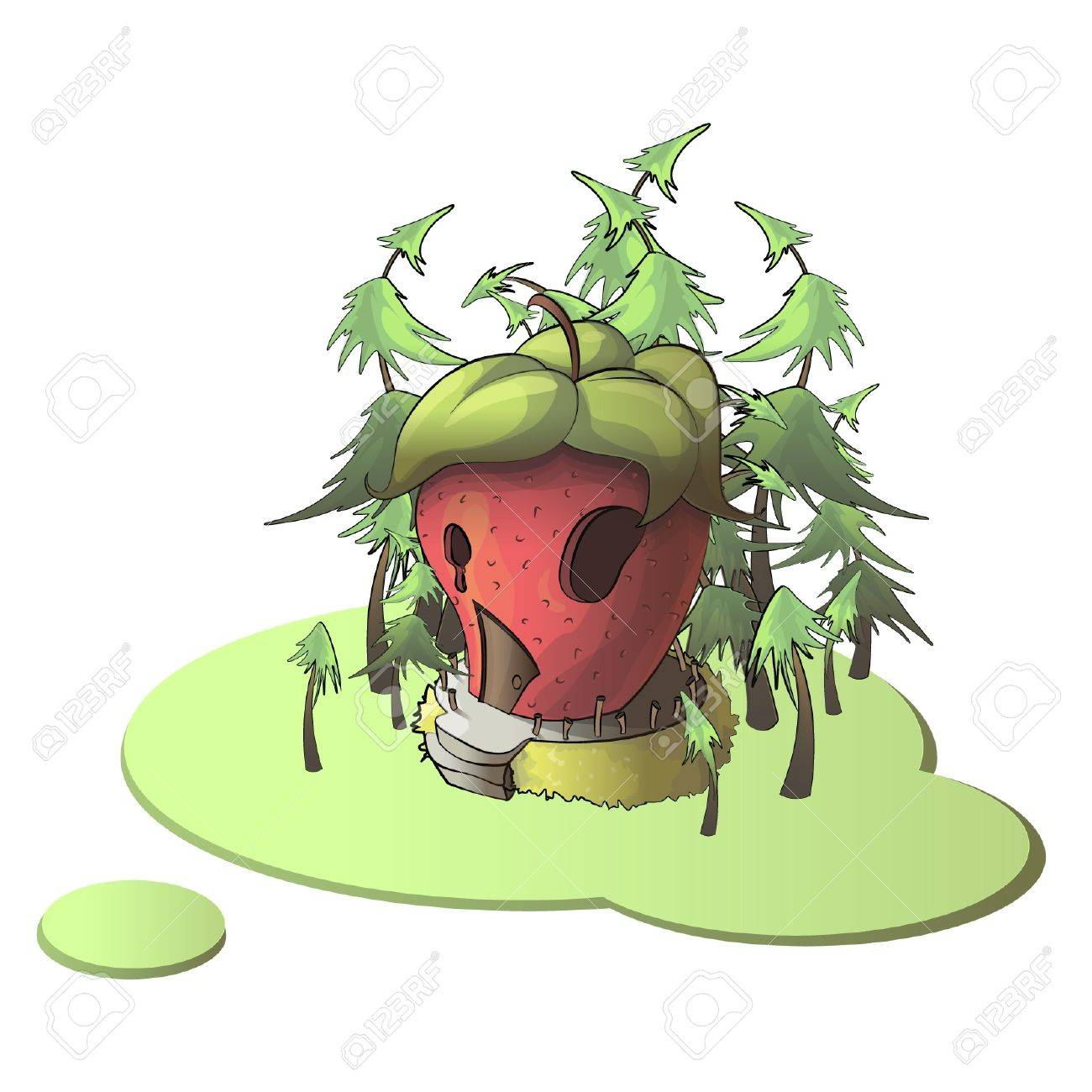 Strawberry house on isolated background illustration Stock Vector - 17406962