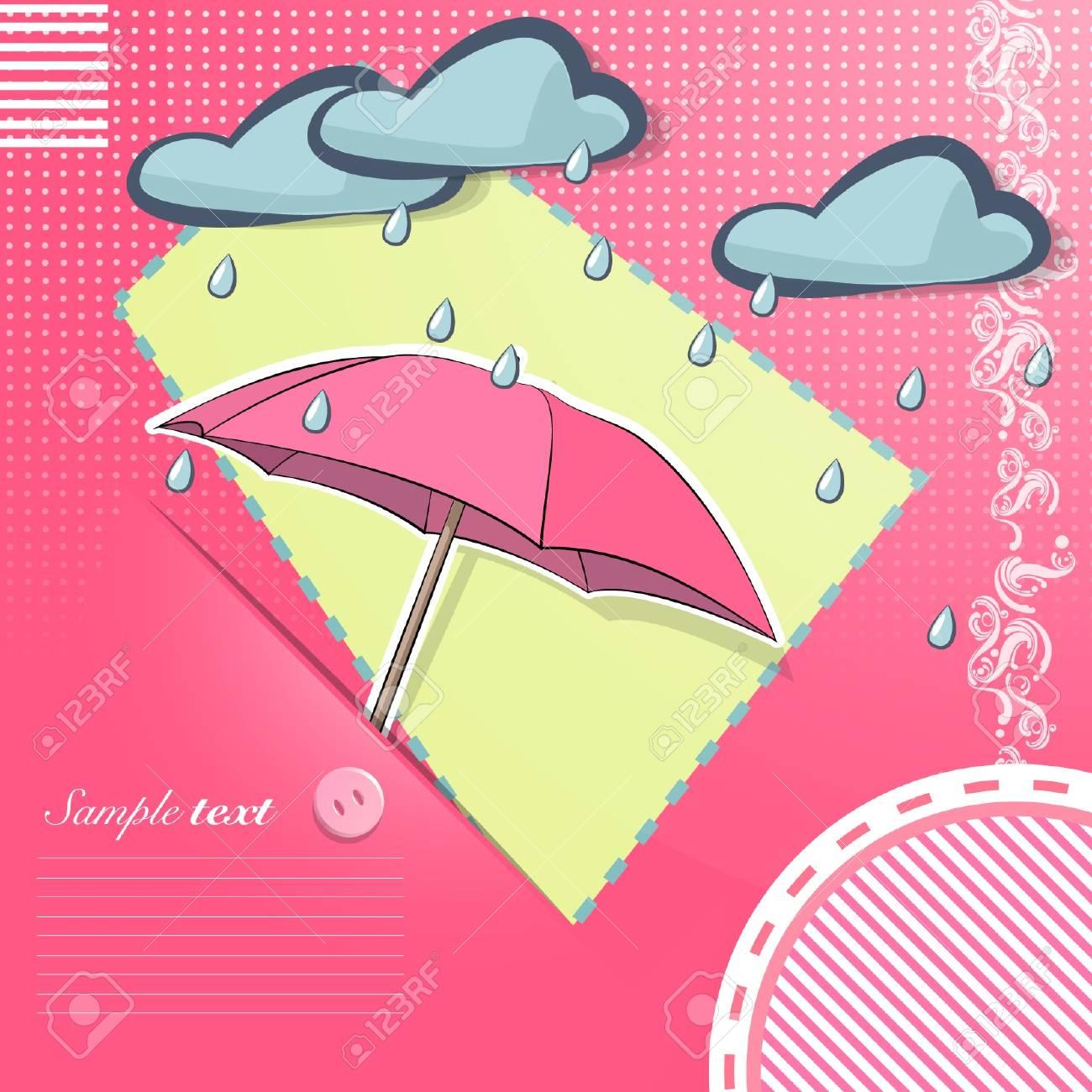 Umbrella on pink fabric illustration Stock Vector - 17407104