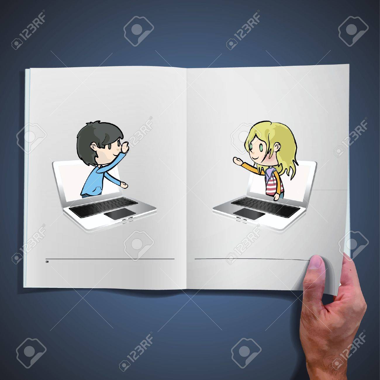 Two children communicating from computers inside a open book  design Stock Vector - 17409192