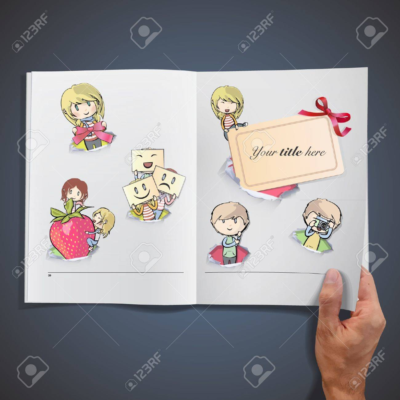 Set of kids in hole paper inside a book background design Stock Vector - 17409211