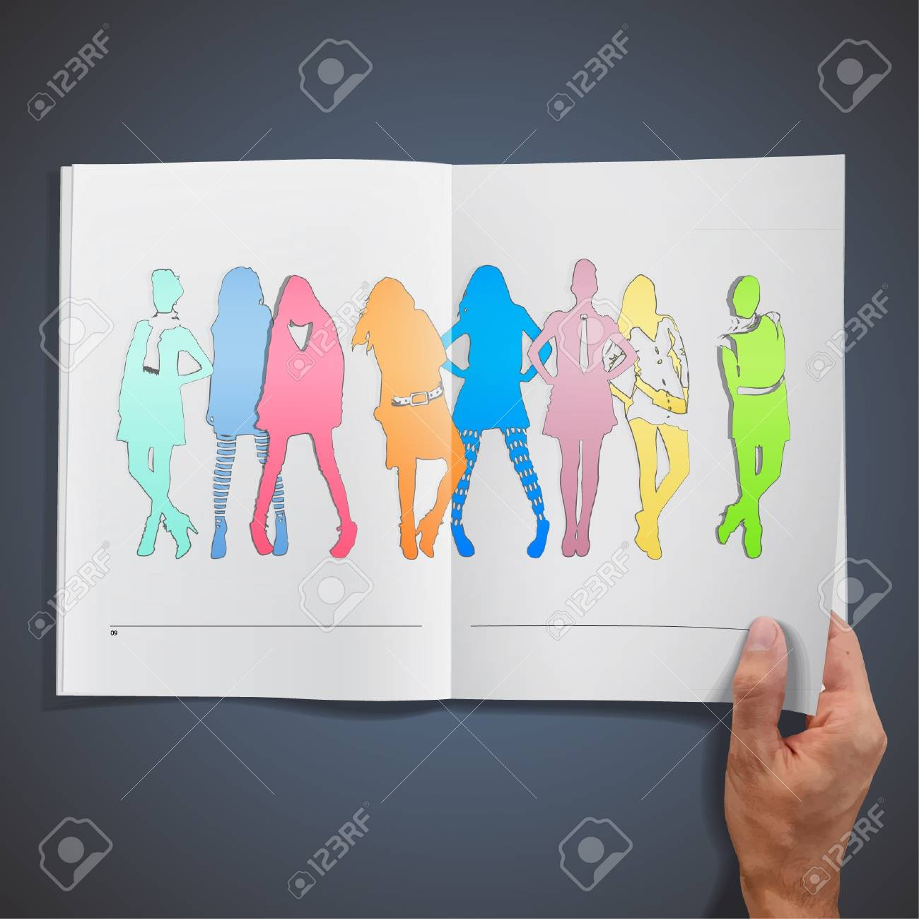 Colorful models inside a book design Stock Vector - 17409219
