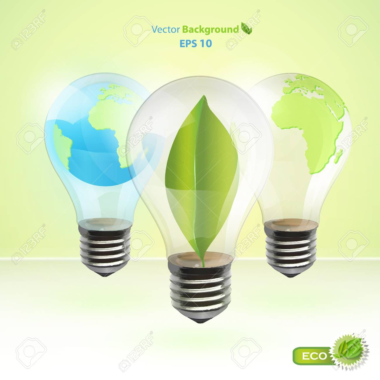 Collection of realistic eco bulb  Vector background design Stock Vector - 17470144