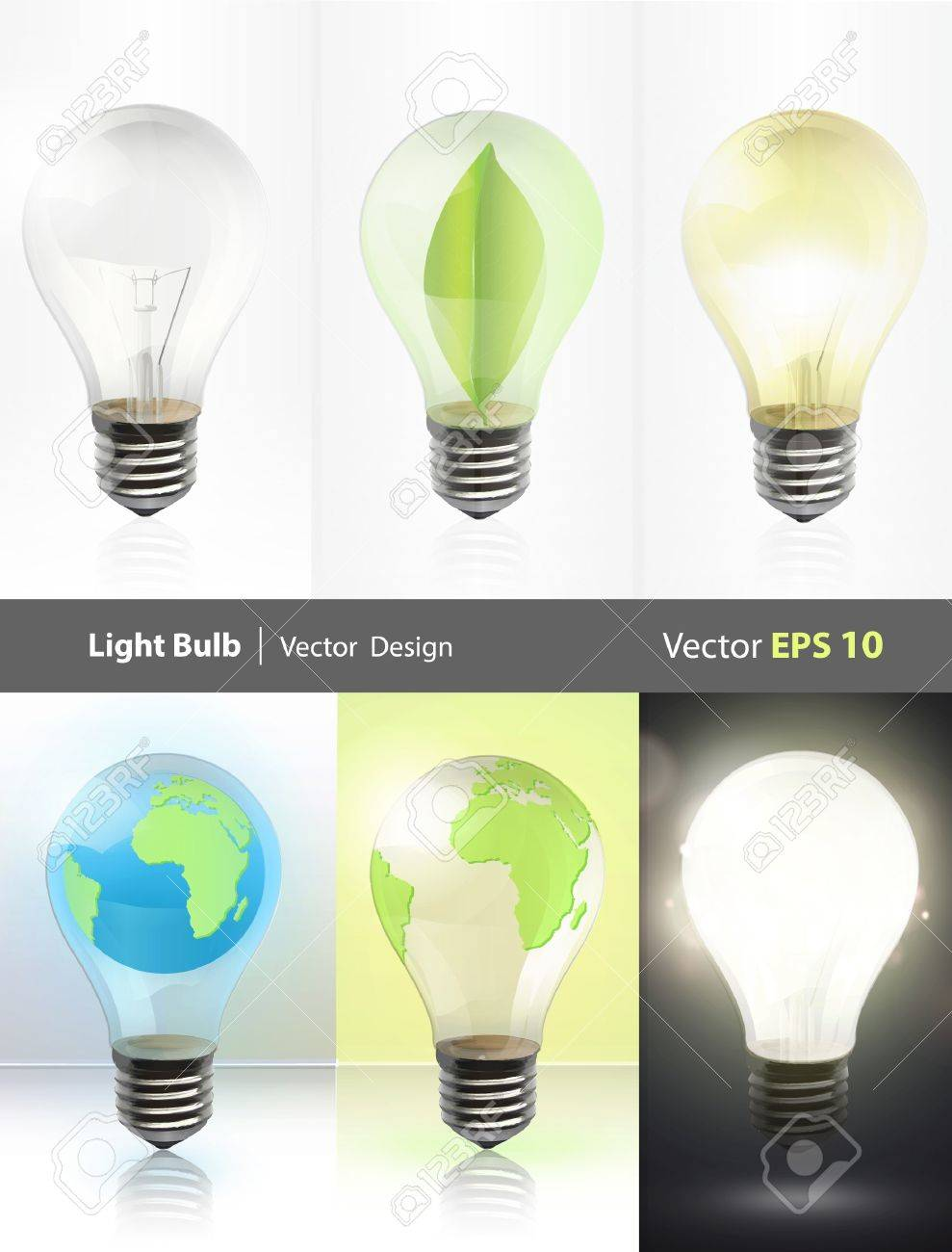 Collection of realistic bulbs  Lightbulb, lightbulb off, bulb with earth, and bulb with leaf  Vector design Stock Vector - 17470088