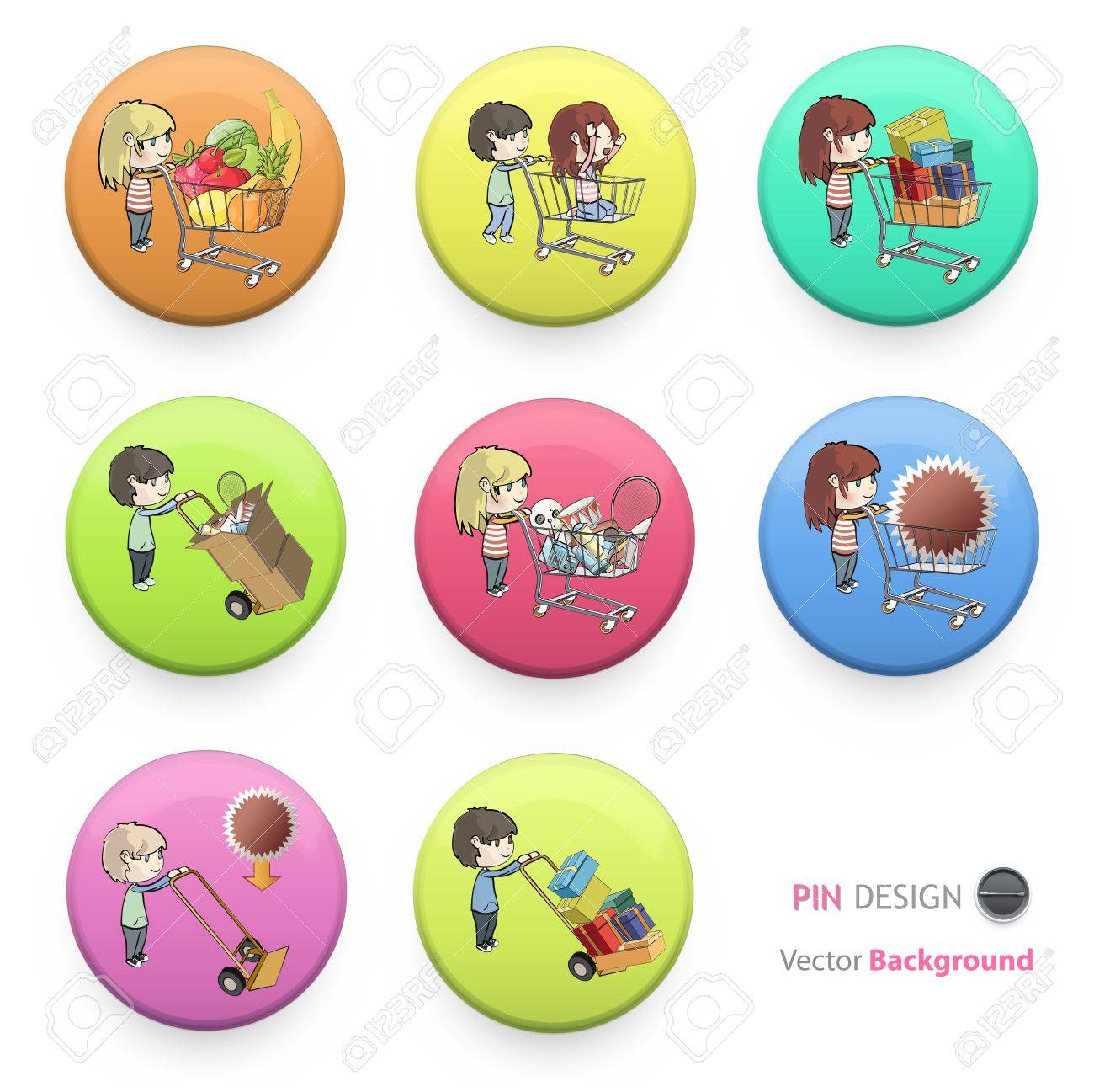 Kids buying many gifts and items printed on colorful badges. Vector design. Stock Vector - 17613700