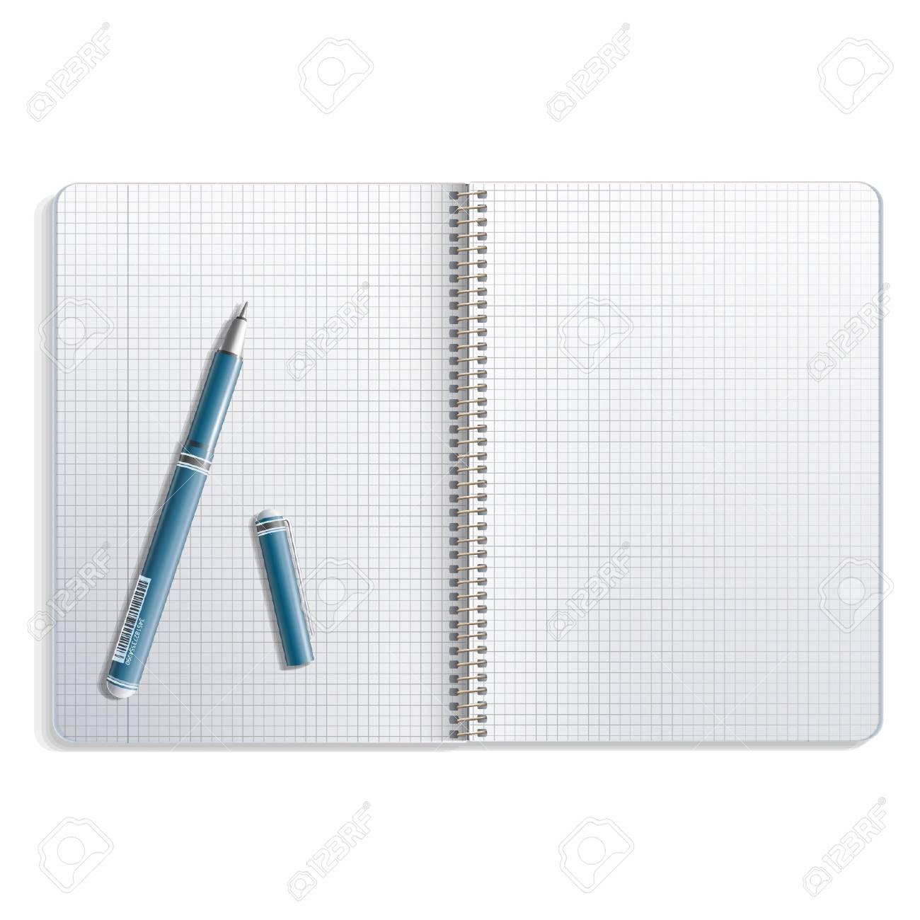 Open pen on white notebook  Vector design Stock Vector - 17613664