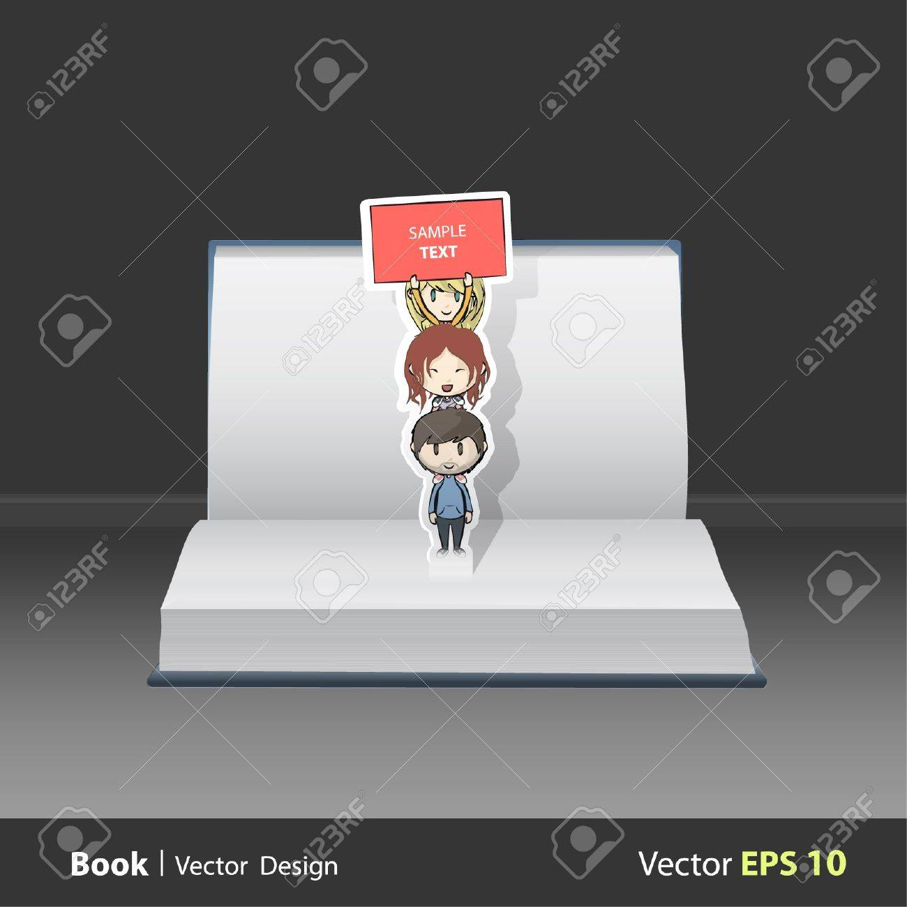 Open book with children over children holding a poster. Vector design. Pop-Up Illustration. Stock Vector - 17613770