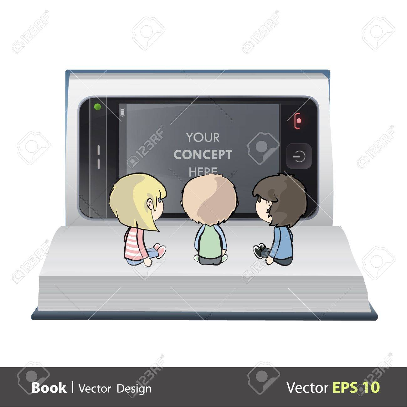 Three children watching TV on a book. Vector design. Stock Vector - 17613769
