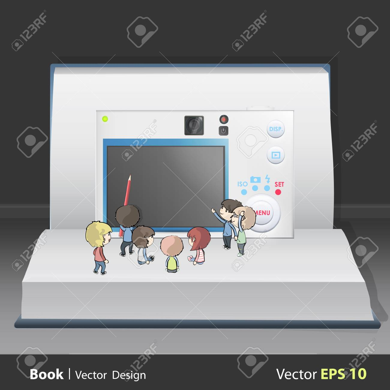 Camera with many kids inside a book. Vector design. Stock Vector - 17787035