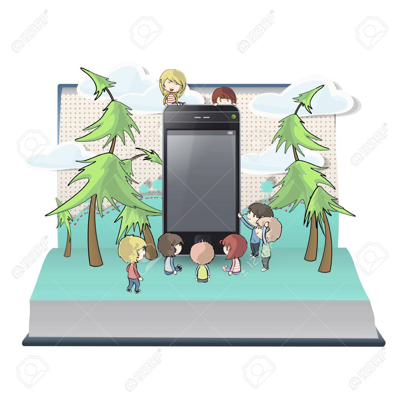 Many kids with phone inside a book. Vector design. Stock Vector - 17787062