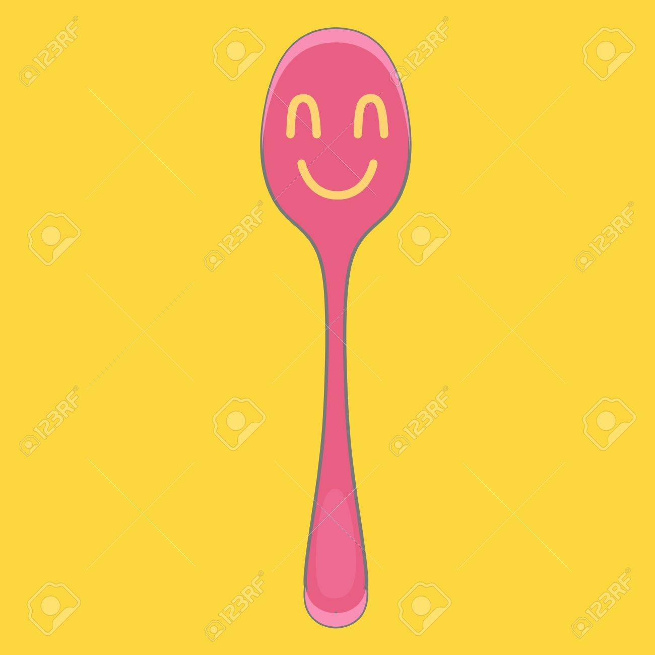 Cute spoon on yellow isolated background. Stock Vector - 18496701