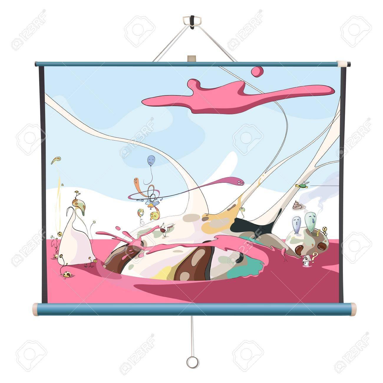 Cute draw on projector screen. Vector design. Stock Vector - 18541604