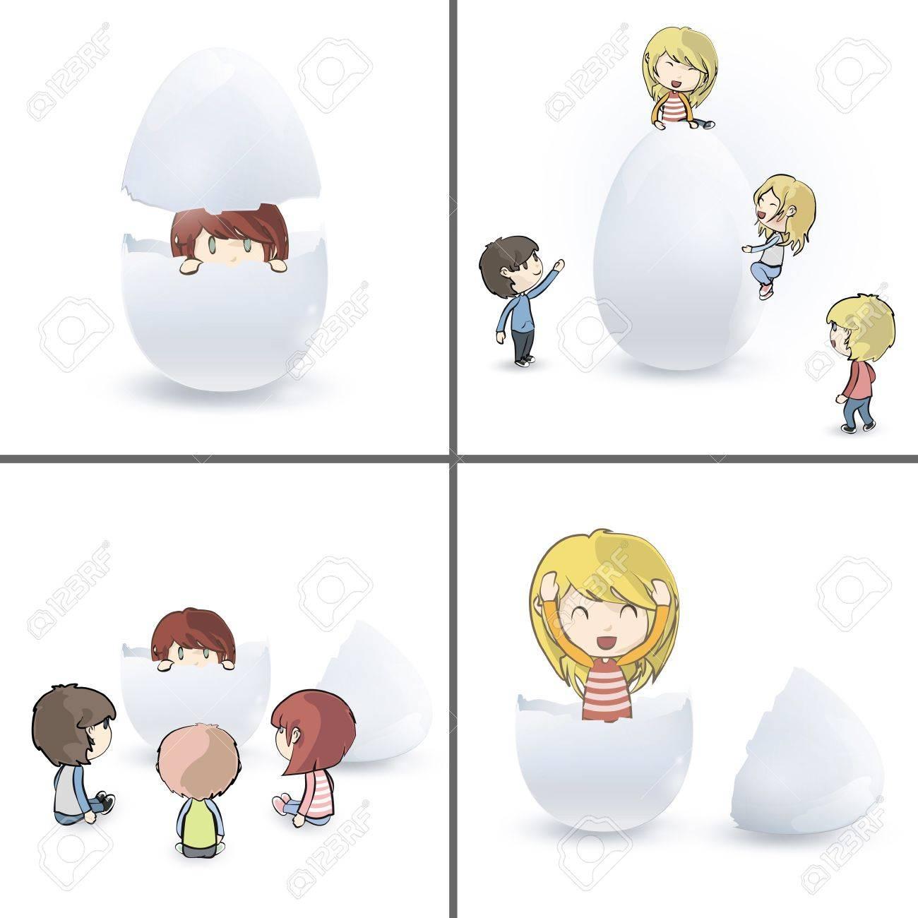 Collection of children around eggs  design Stock Vector - 18727243