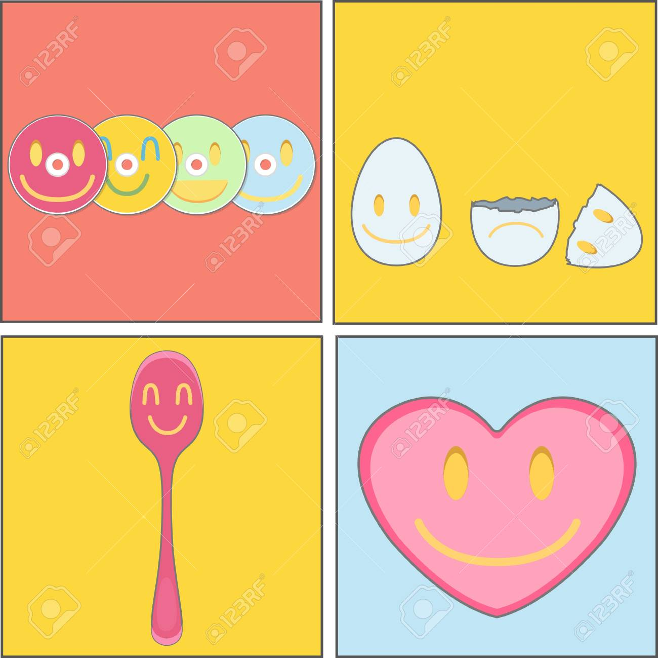 collection of CD, spoon, heart and egg Stock Vector - 18904298