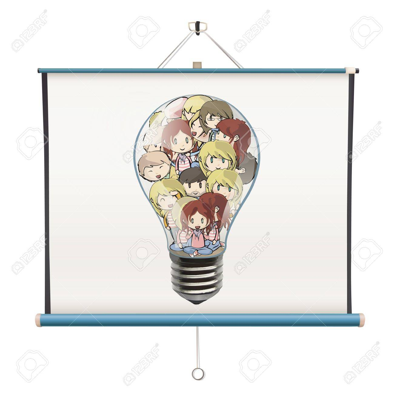 Many children inside a bulb printed on projector screen. isolated  design. Stock Vector - 19198319