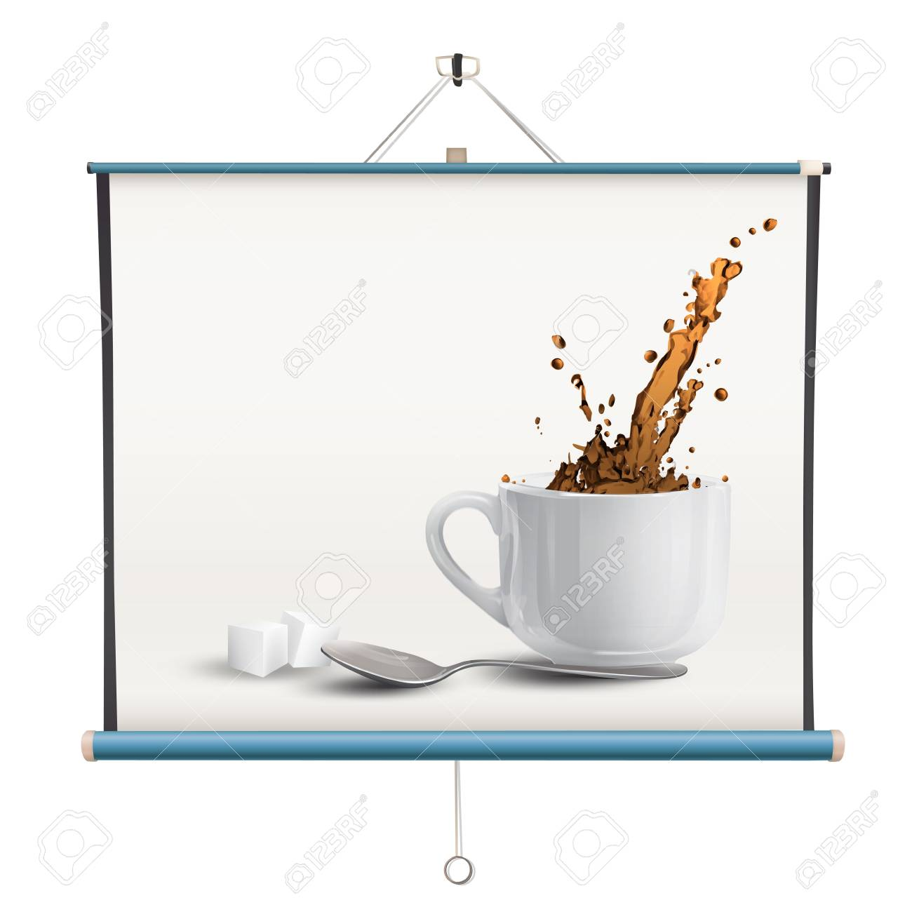 Realistic coffee printed on projector screen. isolated  design. Stock Vector - 19198325