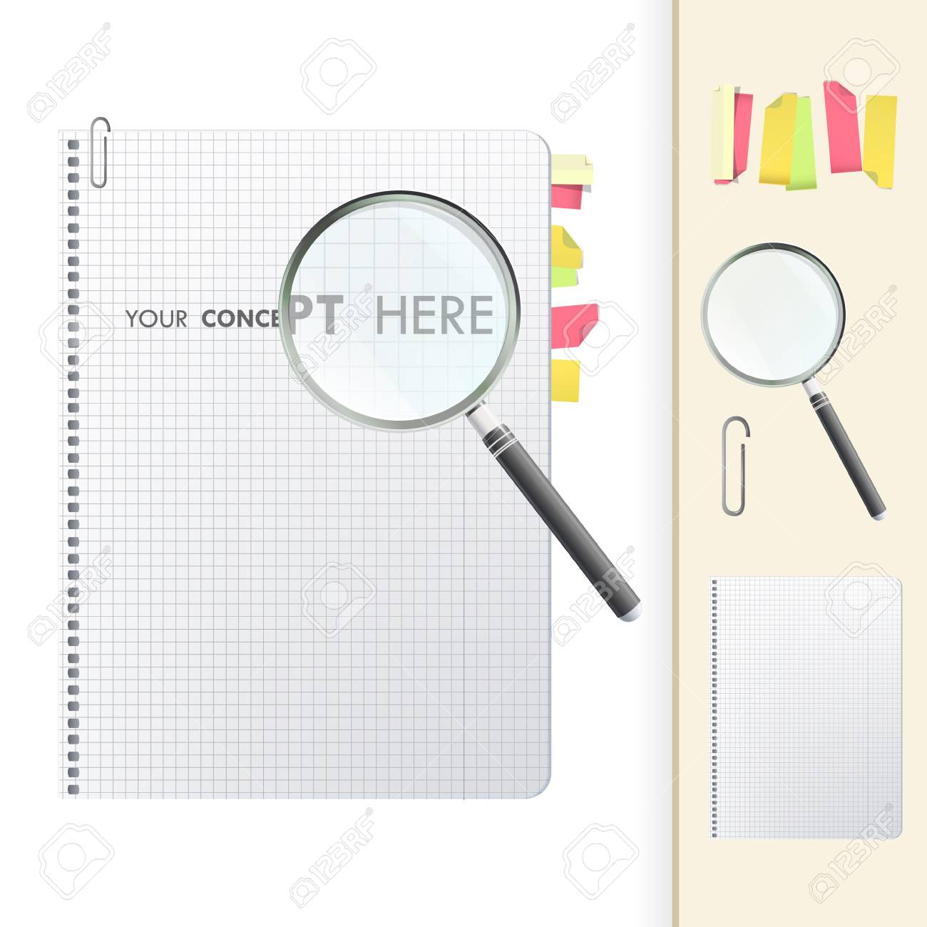 Magnifying glass on notebook Stock Vector - 19198339