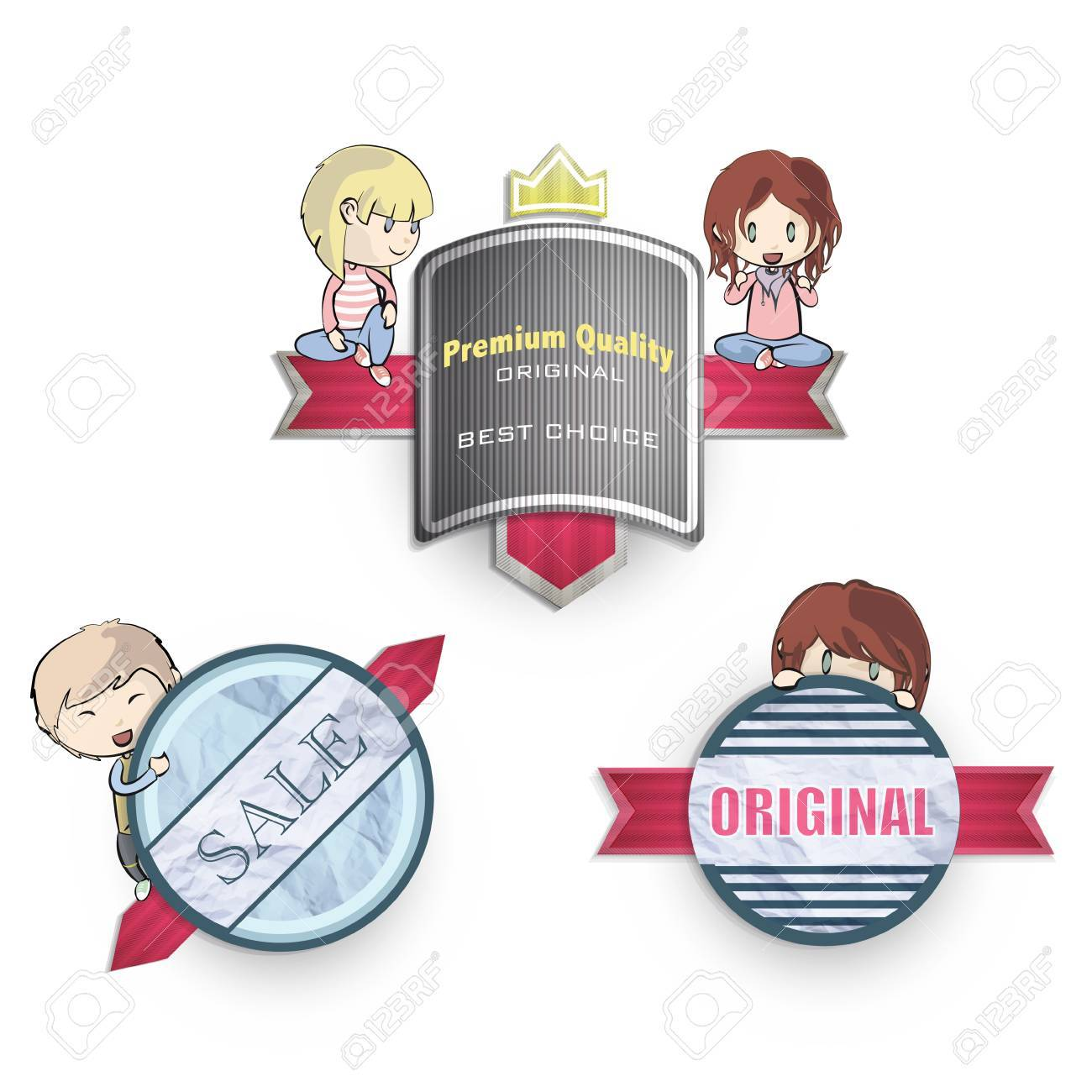 Collection of kids holding vintage labels. Stock Vector - 19267321