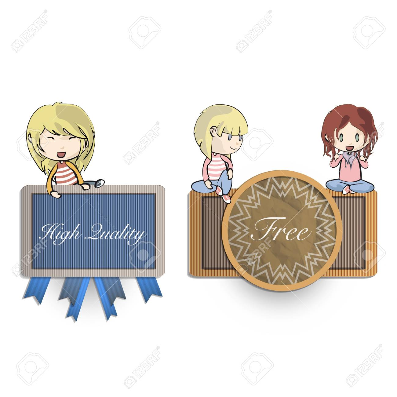 Collection of kids holding vintage labels. Stock Vector - 19267327