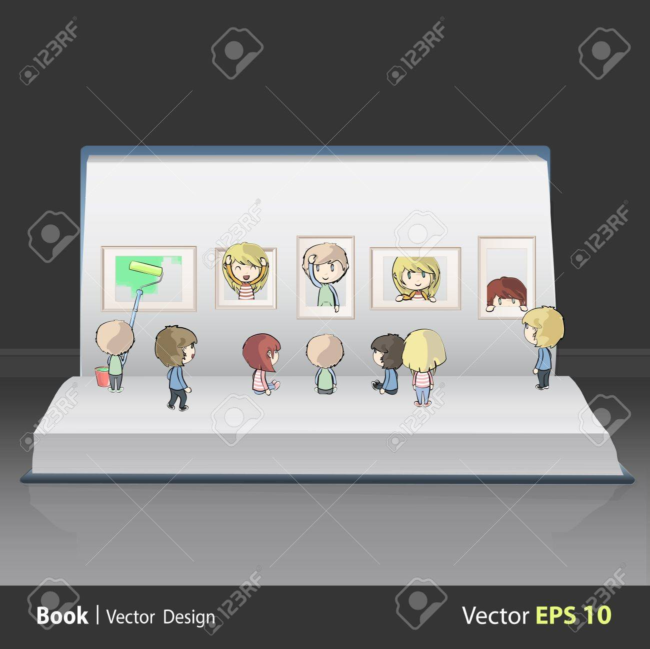 Kids view a museum inside a book. Vector design. Stock Vector - 19355685