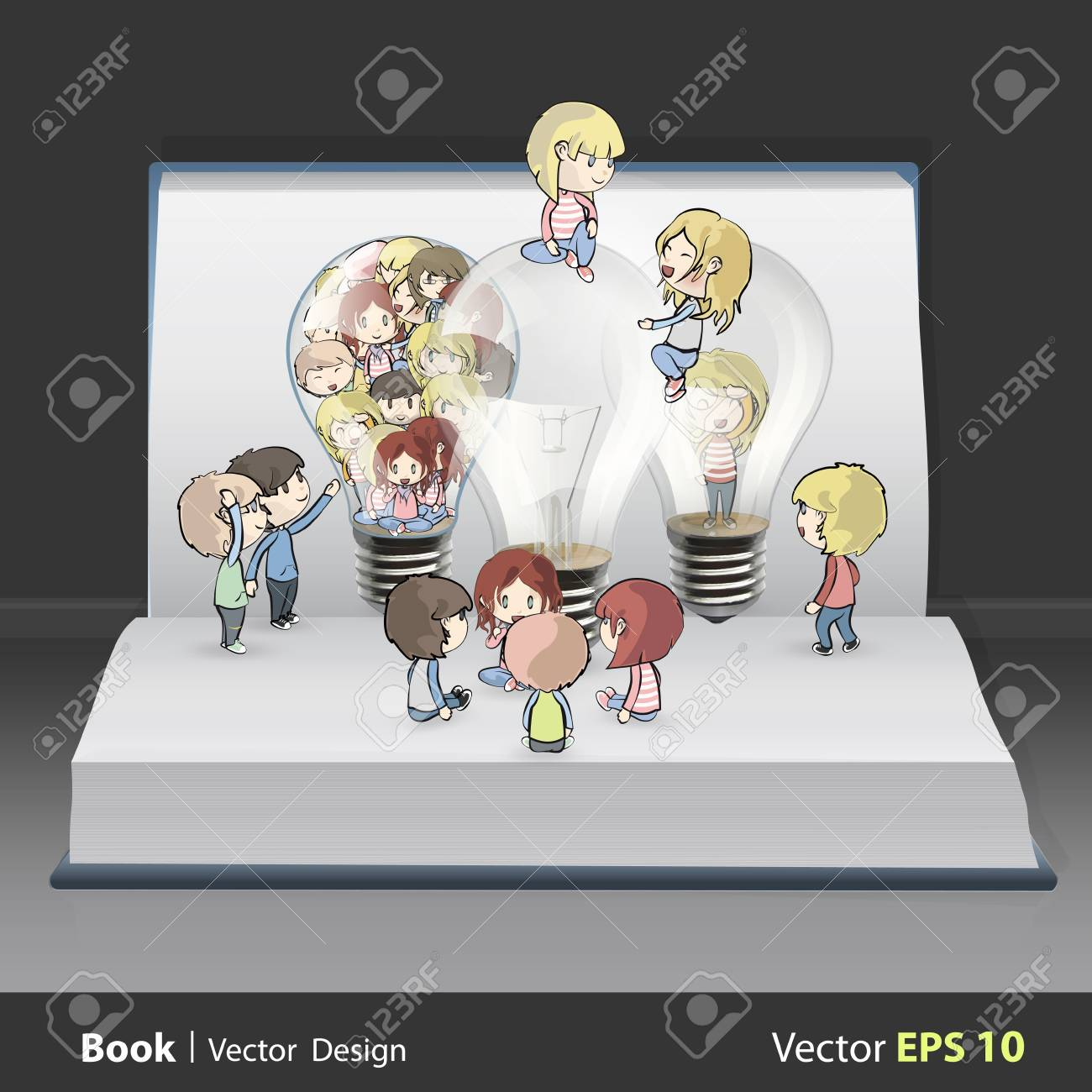 Several kids around bulb inside a book. Vector design. Stock Vector - 19355712