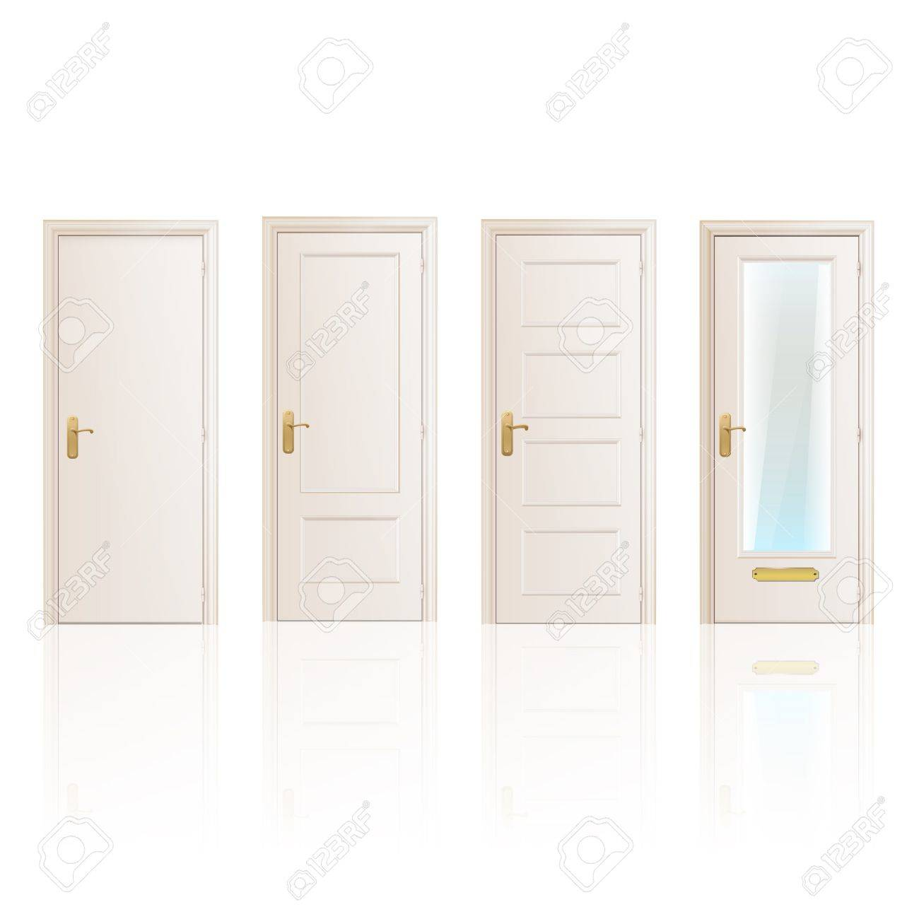 Set of white doors on isolated background. Vector design. Stock Vector - 19559018