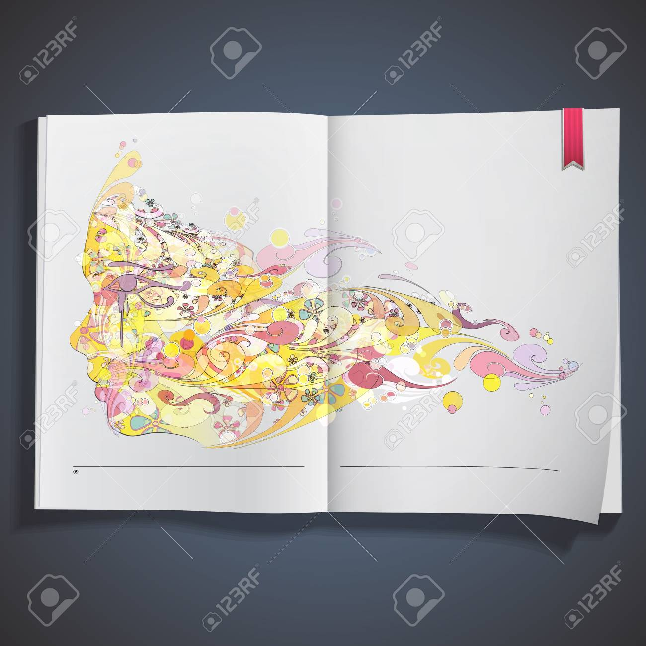 Abstract face printed on white book Stock Vector - 20484631