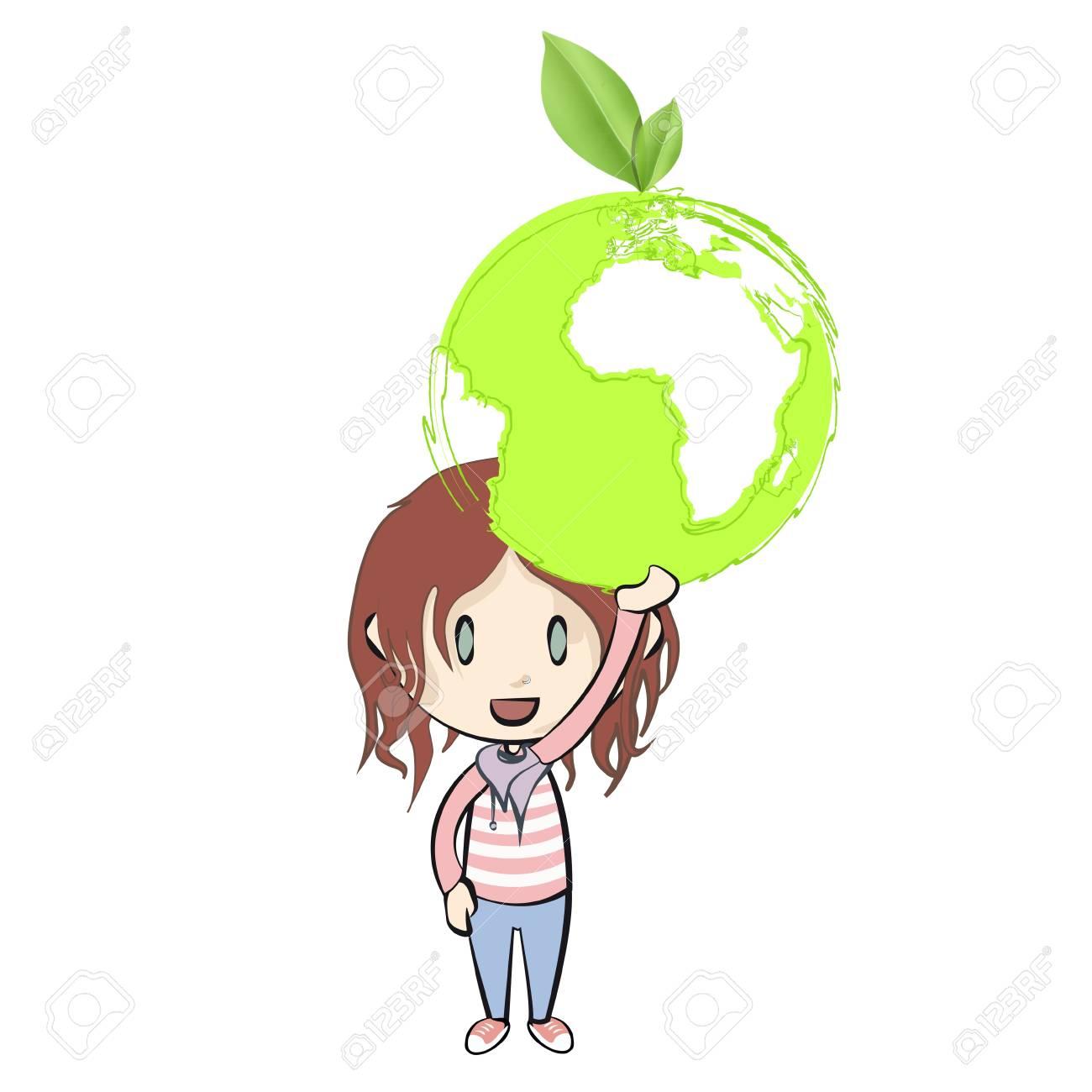 Girl holding an ecological icon  Vector design Stock Vector - 21024977