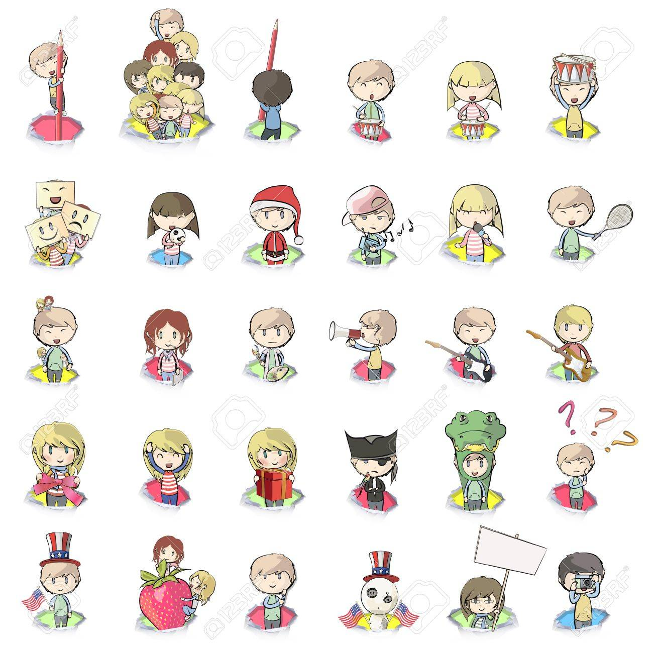 set of cute little kids in hole paper vector background design