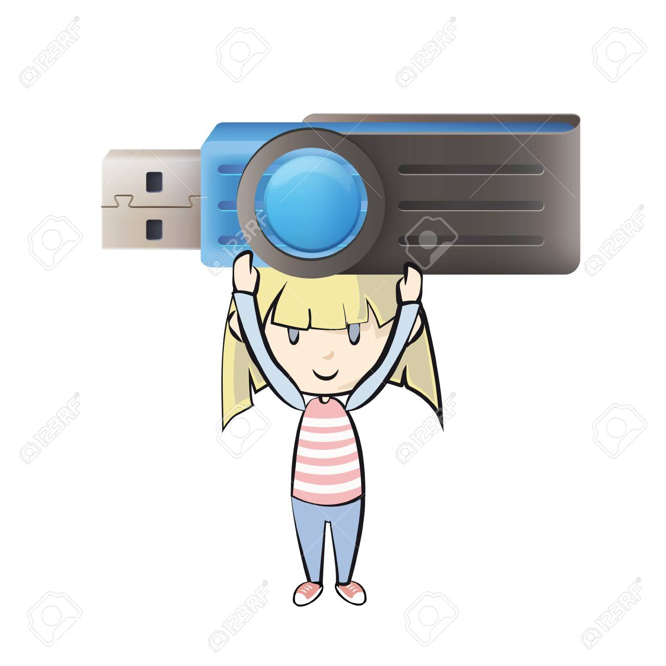 Girl holding a realistic blue pendrive. Stock Vector - 21297612