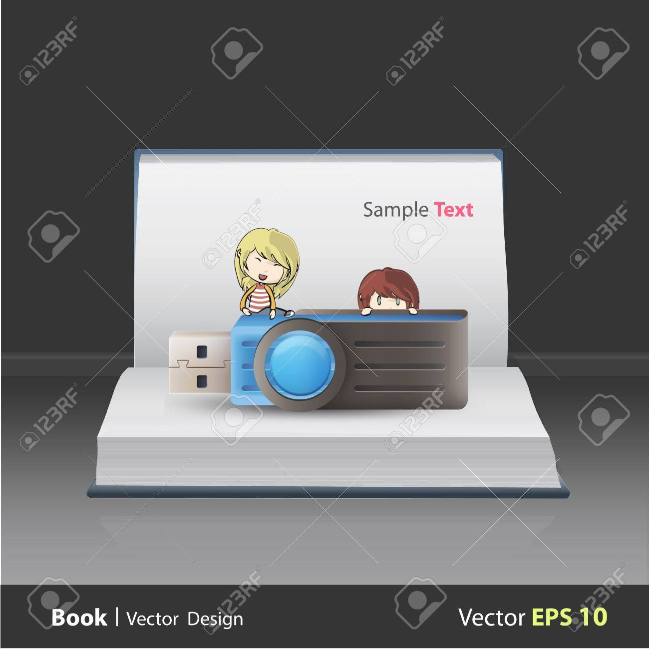 Kids holding blue pendrive on book  Vector design Stock Vector - 21501963