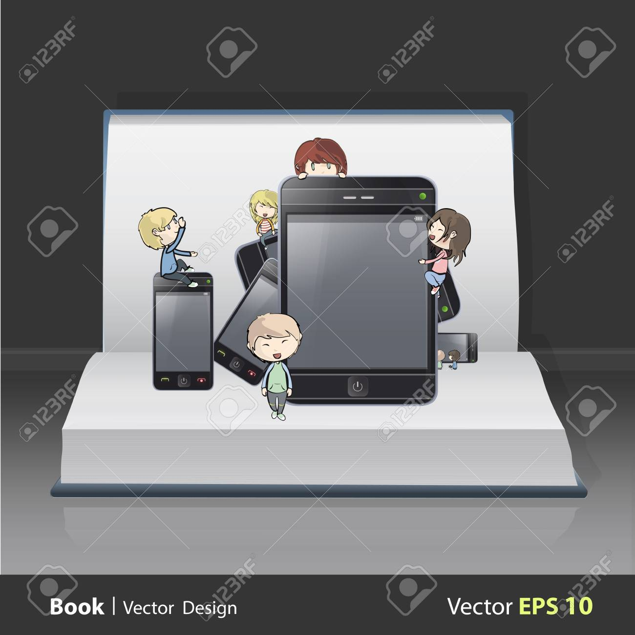 Set of cellulars and pads with children on book  Vector design Stock Vector - 21501994