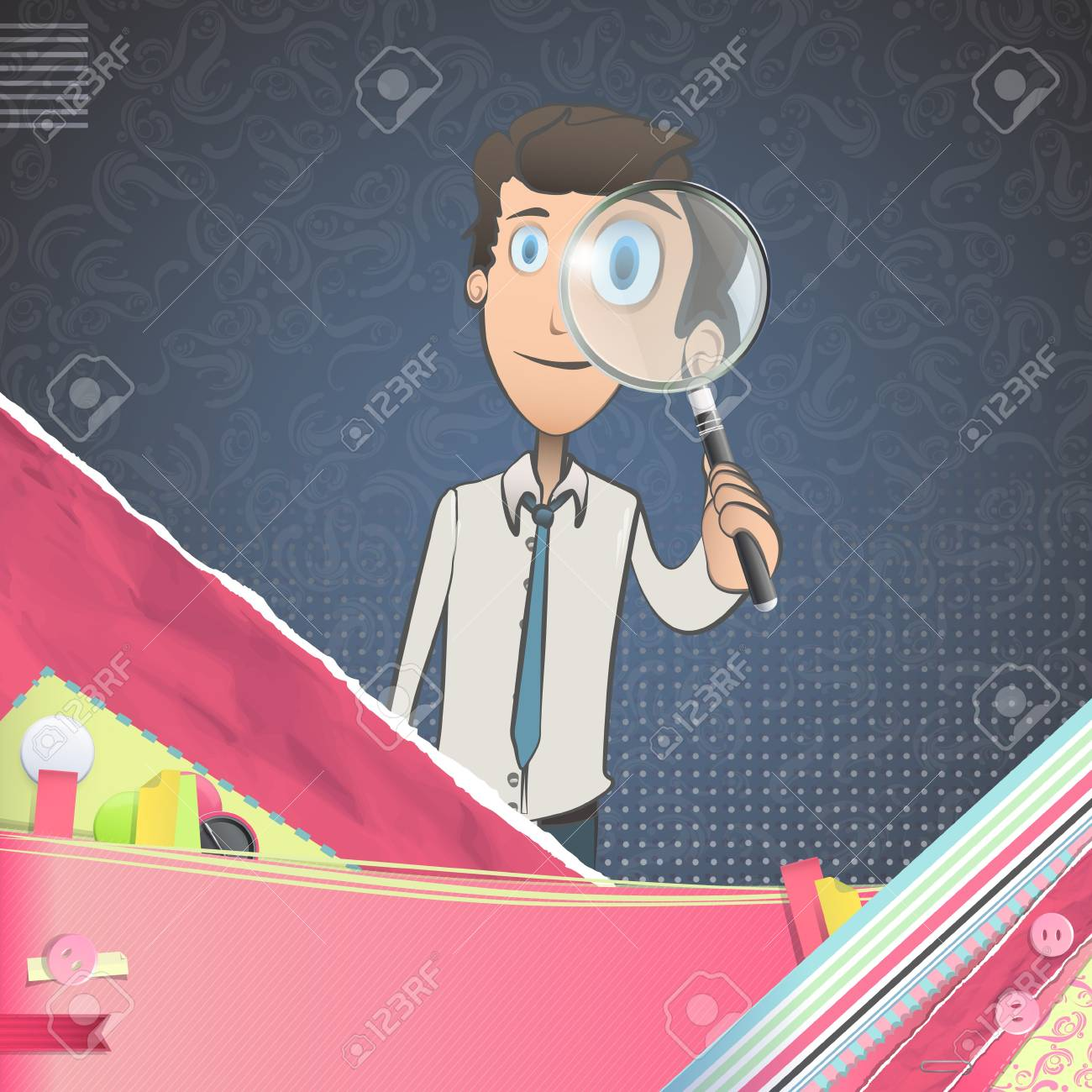 Business man with magnifying glass over vintage background.Illustration. Stock Vector - 21693423