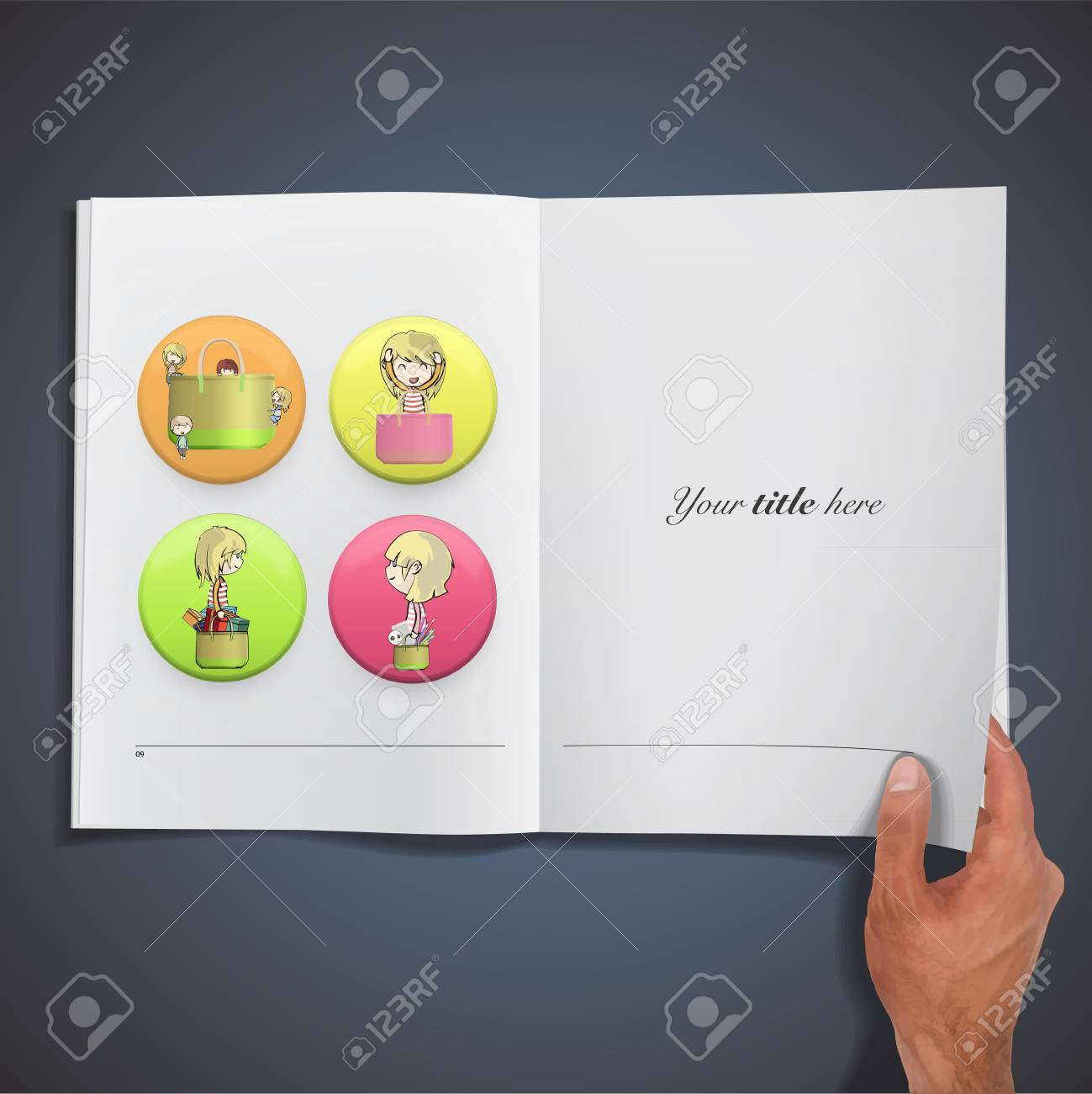 Children with bags inside a button printed on book. Stock Vector - 21918618