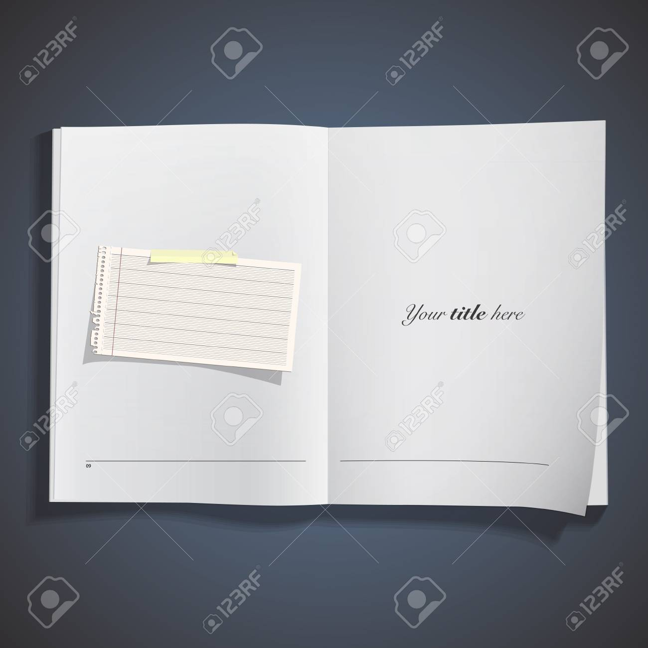 Note paper printed on book. Stock Vector - 21918738