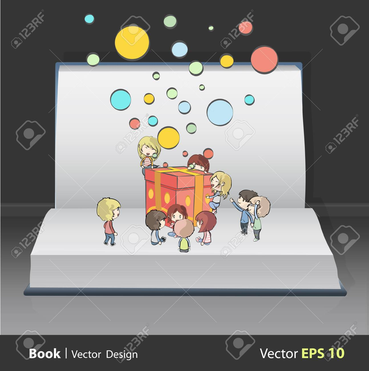 Kids around gift box on white book  vector design Stock Vector - 22109219
