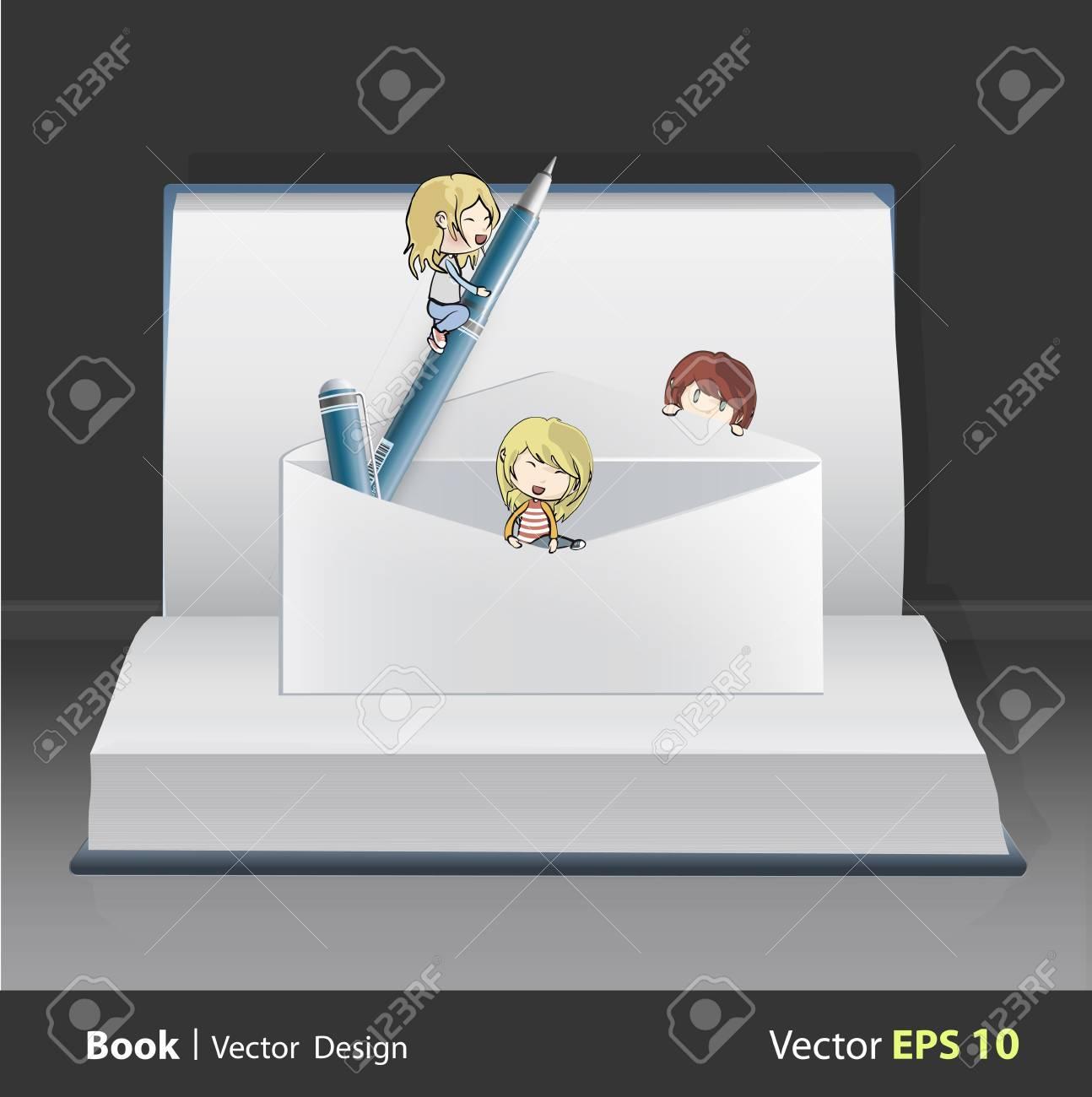Group of kids around envelope on white book  Vector design Stock Vector - 22213087