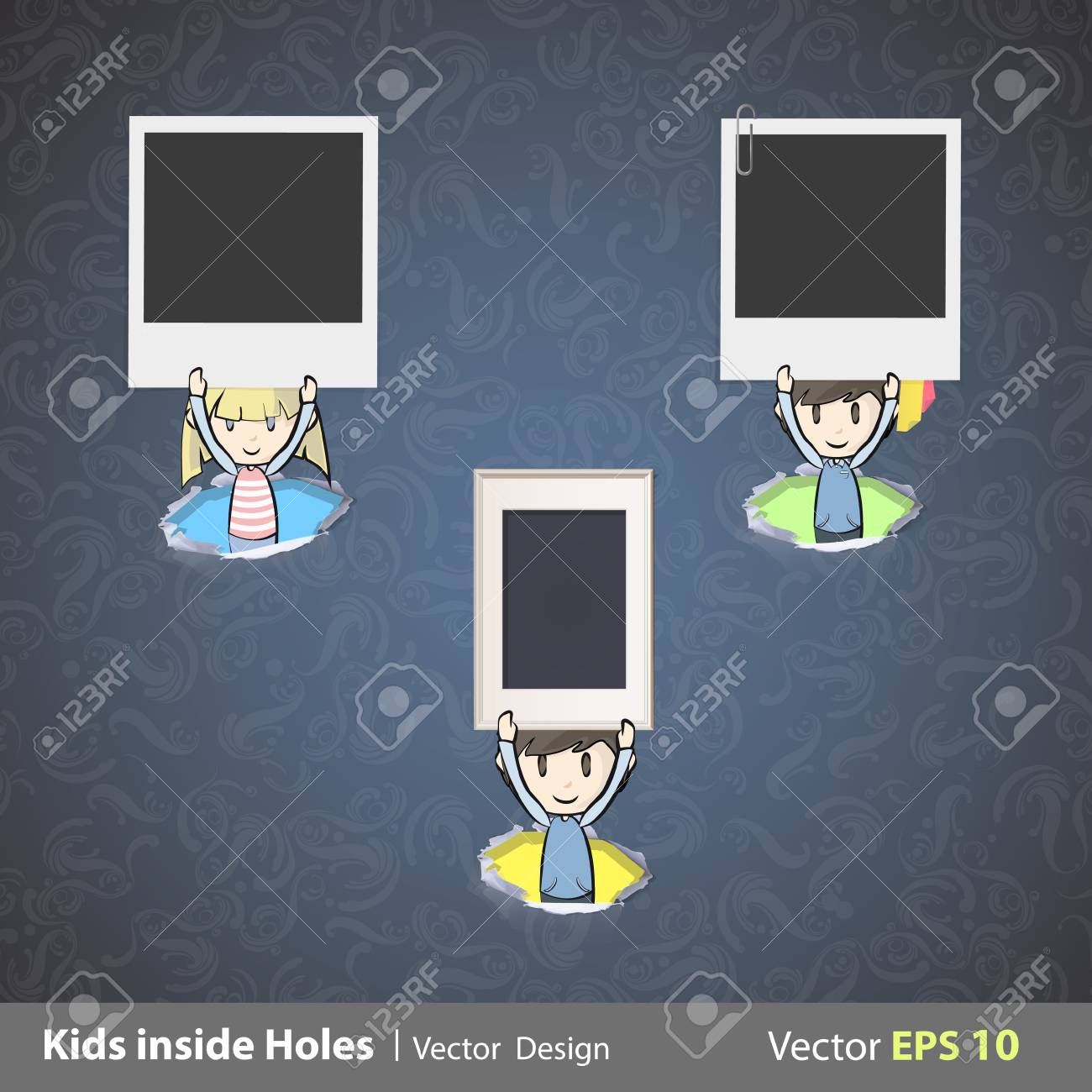 Kids holding photos inside hole papers illustration Stock Vector - 22411219