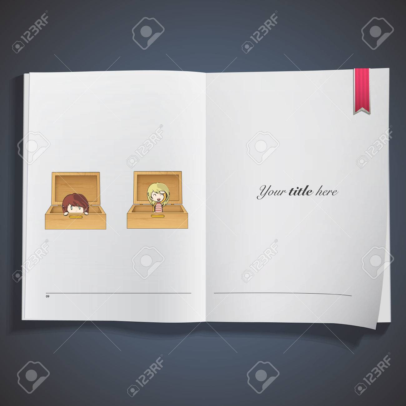 girls inside a wood box printed on book. Vector design Stock Vector - 22749291