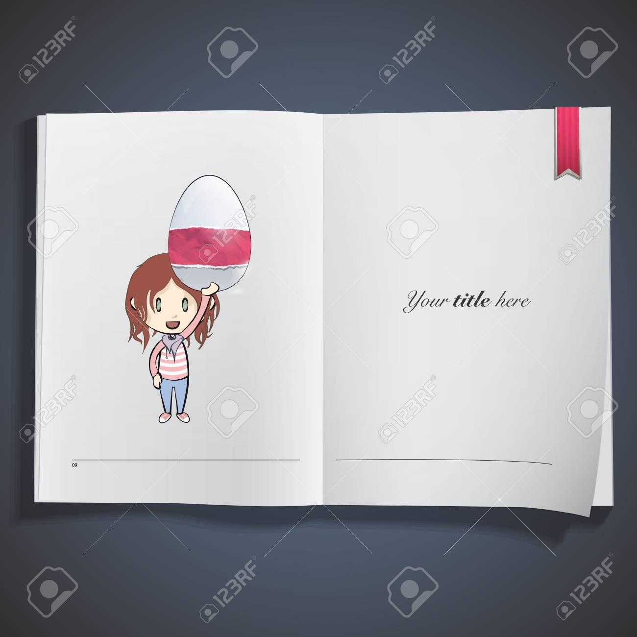 Girl holding an easter egg printed on book. Vector design Stock Vector - 22749306