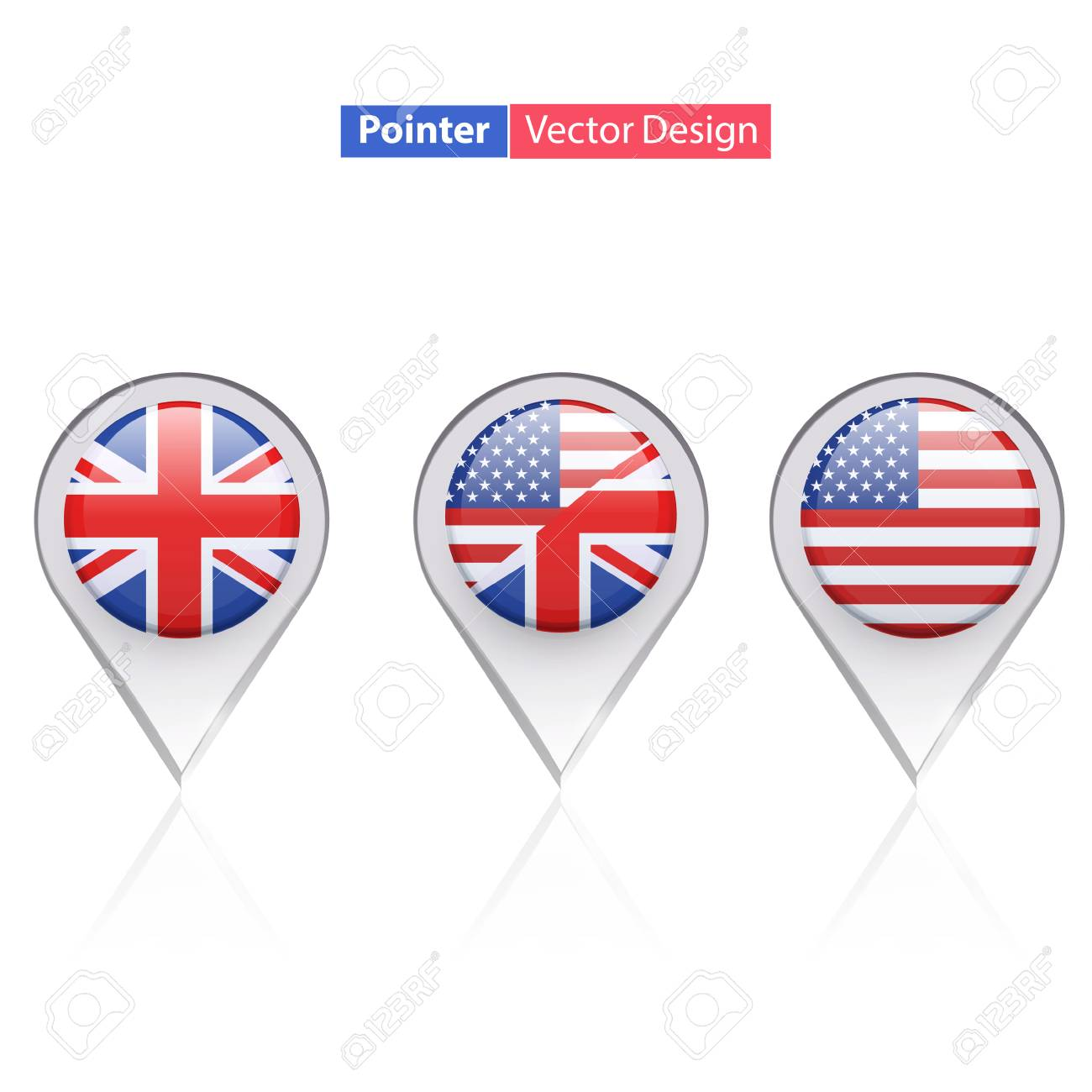 Set of English icon inside pointers  Vector design Stock Vector - 22785768