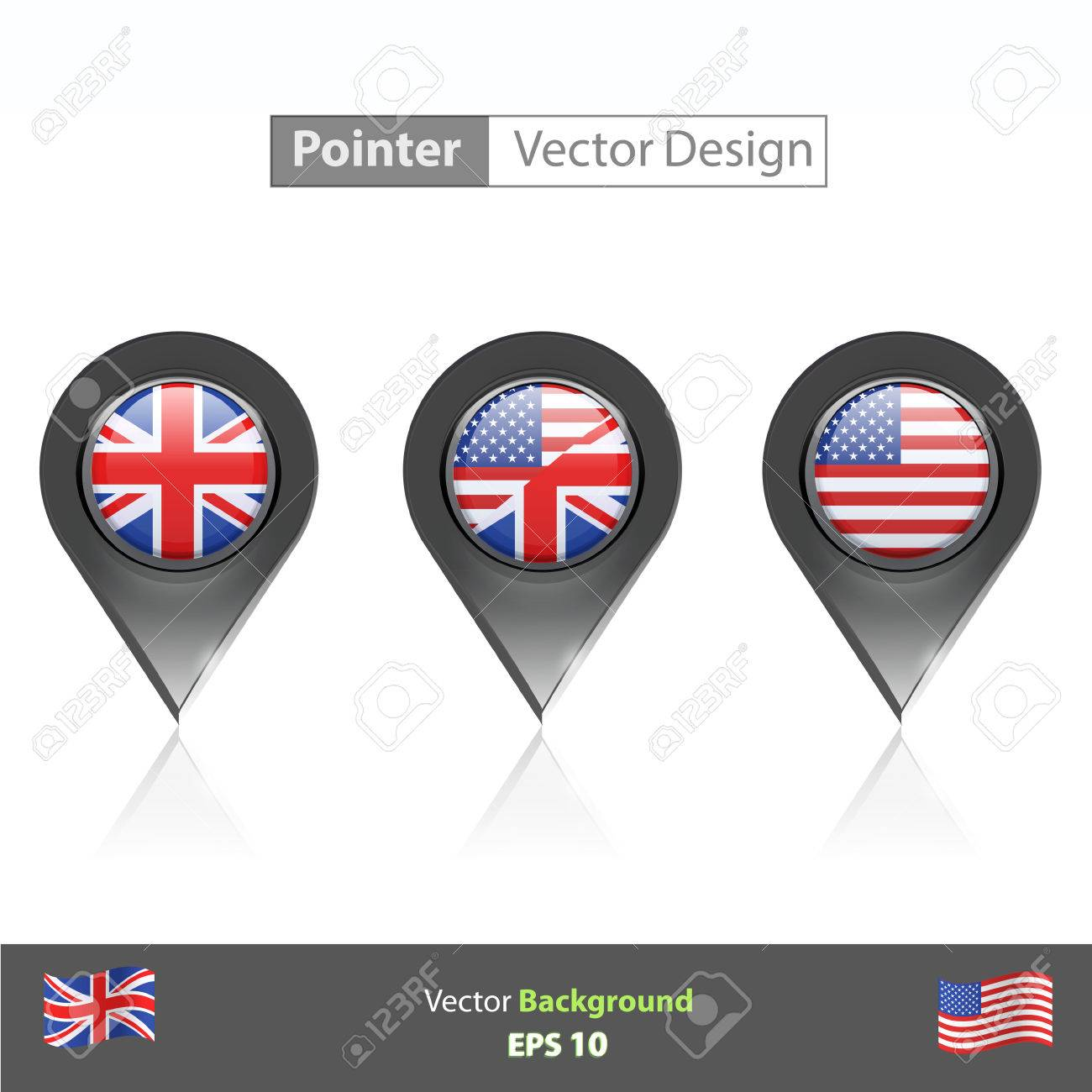 Set of English icon inside pointers  Vector design Stock Vector - 22785769