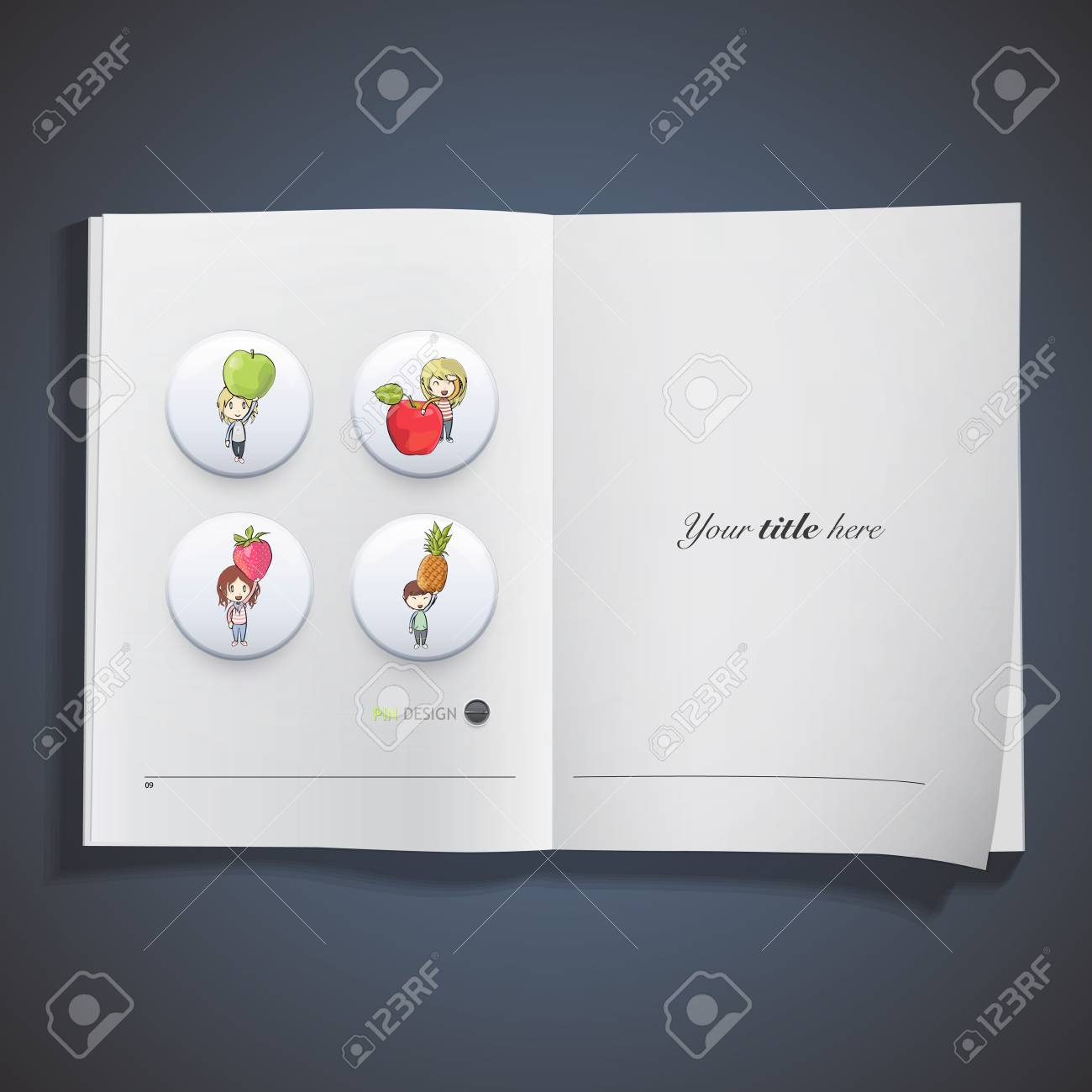 Kids holding colorful fruits printed on book. Vector design Stock Vector - 22895633