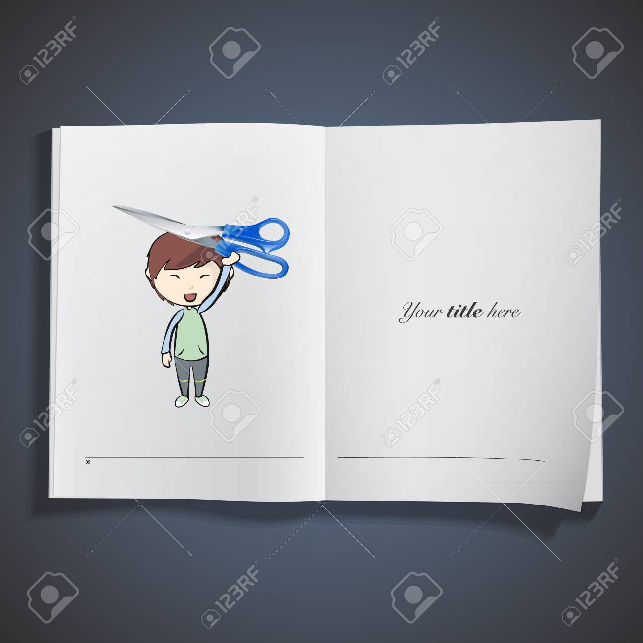 Kid holding blue scissor printed on book. Vector design Stock Vector - 22895638