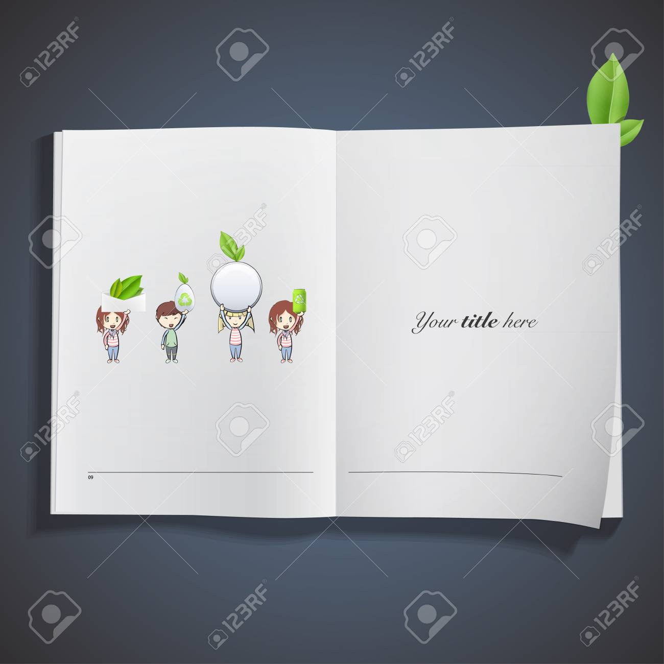 Kids holding eco elements printed on book. Vector design. Stock Vector - 23312483