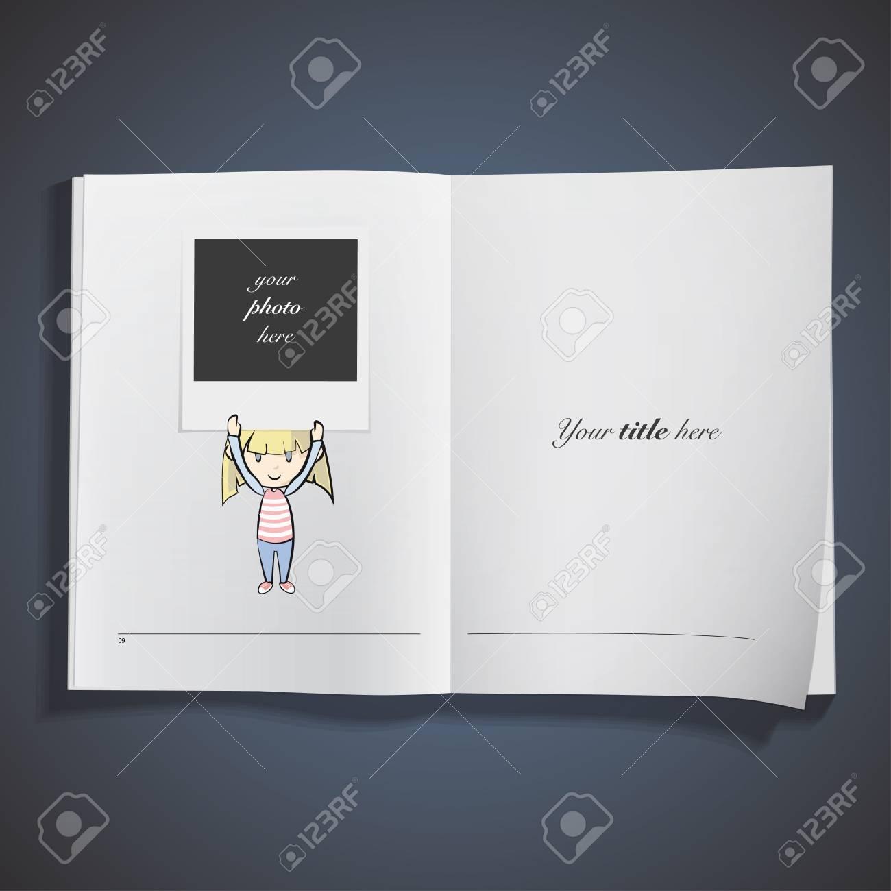 girl holding a photo printed on book. Vector design. Stock Vector - 23462212
