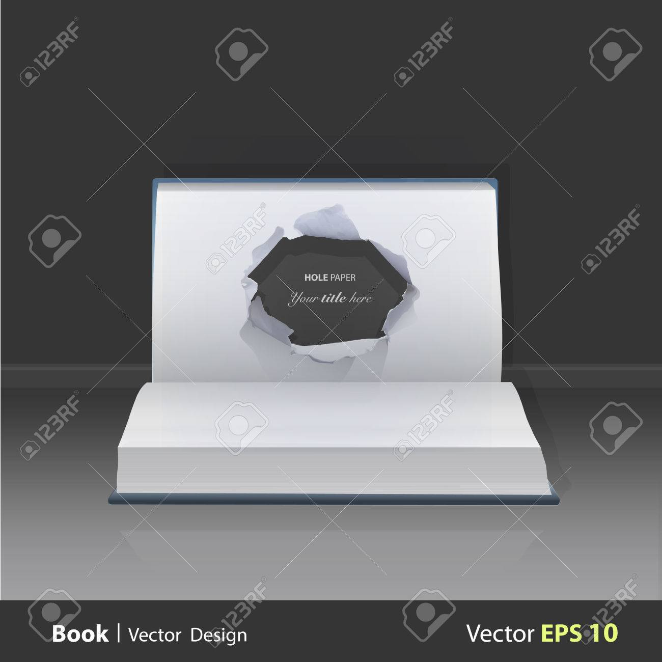 hole paper in popup book. Vector illustration. Stock Vector - 23462349