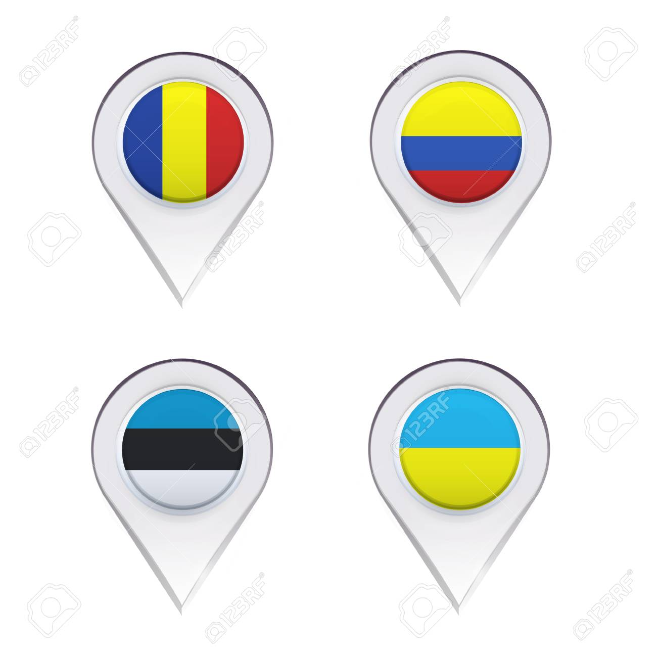 Flags inside pointers over white background. Vector design. Stock Vector - 24119683