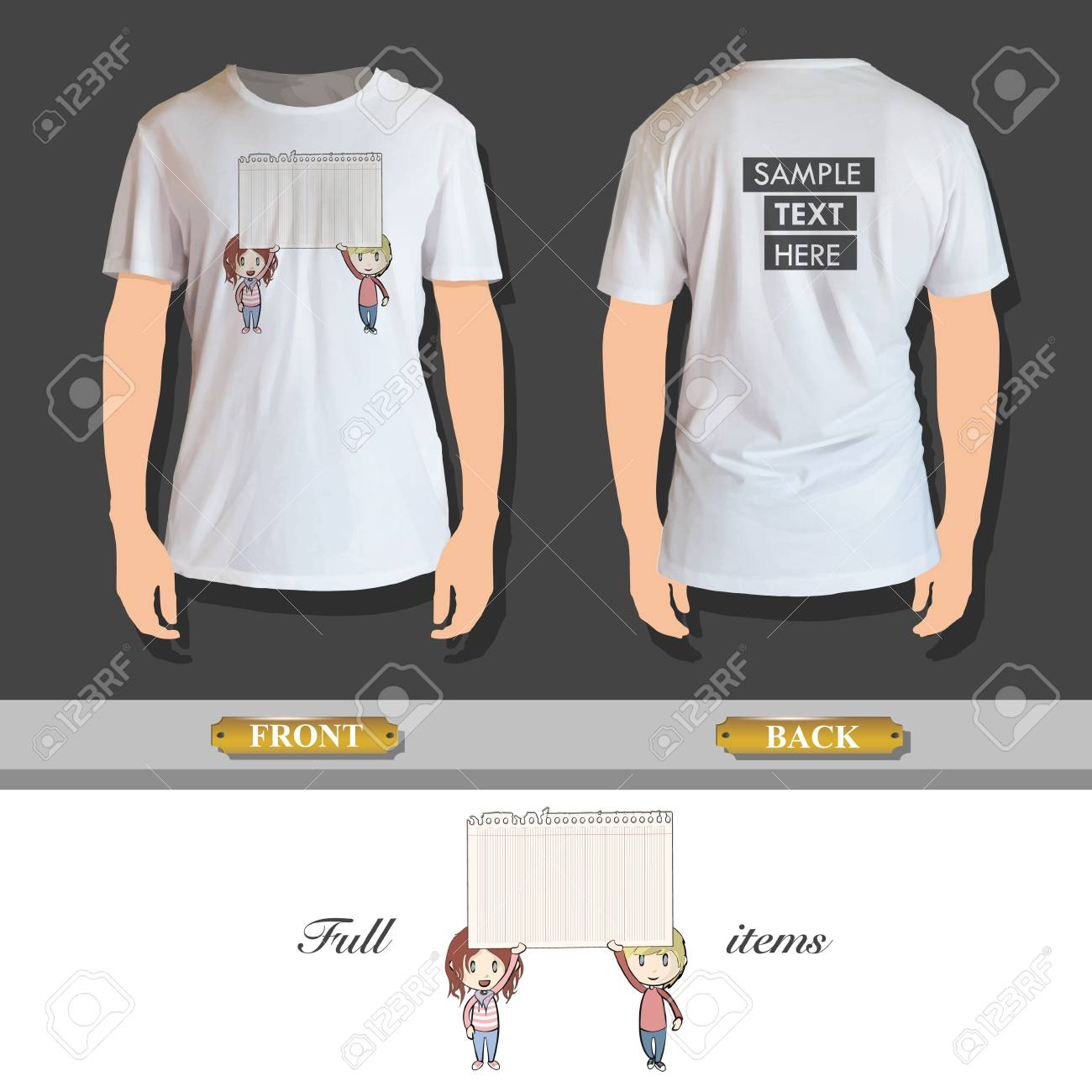 Kids holding a note paper printed on shirt Stock Vector - 25035593
