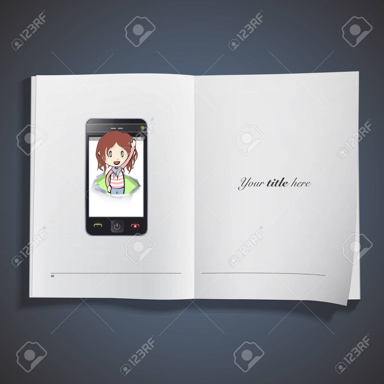 Girl inside hole on phone printed over white book. Stock Vector - 25284697