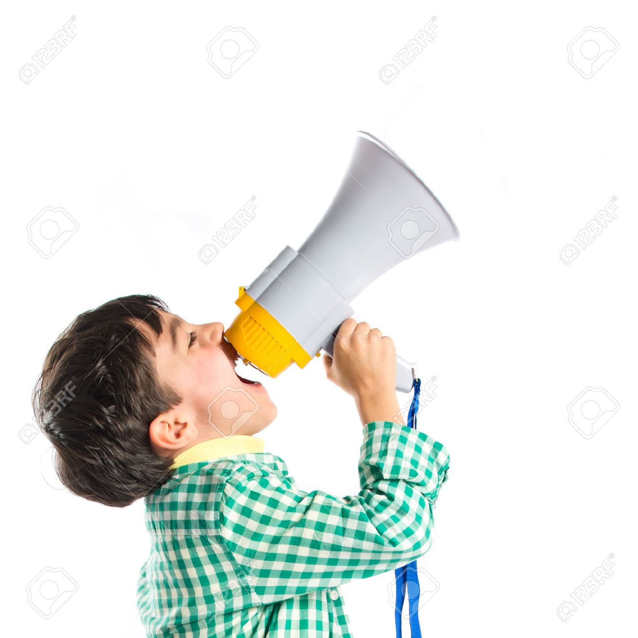 Kid shouting by megaphone over white background Stock Photo - 28676606